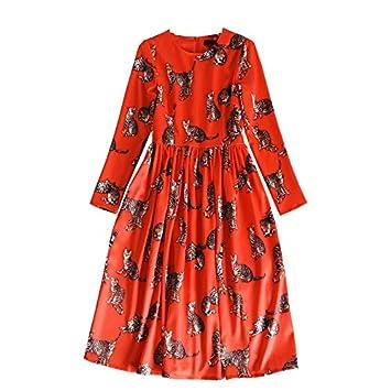 Vestido con Estampado de Gato con Cuello Redondo de Estrella, Vestidos Largos de Color Rojo