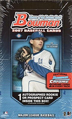 2007 Bowman Baseball Cards Unopened HOBBY Box - 24 packs/box, 10 cards/pack including 2 chrome cards + 1 Autograph Per Box!! -