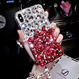 Cfrau Full Diamond Case with Black Stylus for Samsung Galaxy Note 8,Luxury 3D Handmade Sparkle Glitter Crystal Rhinestone Bling Gemstone Jewelled Soft Bumper PC Case,White Red