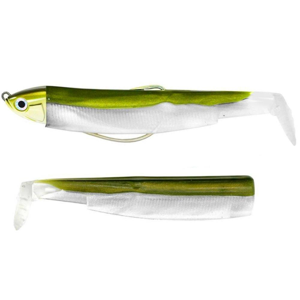 Fiiish Lures - Black Minnow Combo BM120 - Señuelo Blando de Vinilo para Pesca Spinning de Bass Lubina y otras especies - 1 Cabeza + 2 Cuerpos + 1 Anzuelo Nº3 (6g Combo kaki)