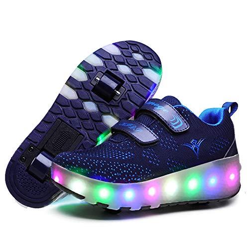 Nsasy Roller Shoes Girls Boys Wheel Shoes Kids Roller Skates Shoes LED Light Up Wheel Shoes for Kids for Kids for Children ()