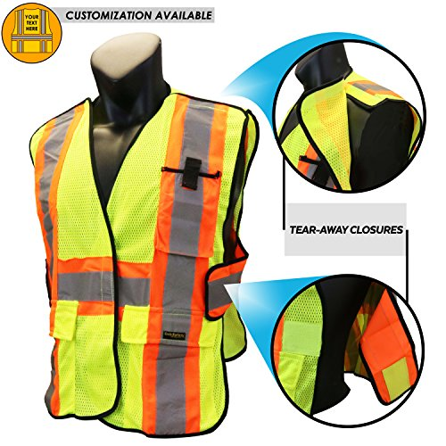 KwikSafety CAPITAL | Class 2 Breakaway Safety Vest | 360° High Visibility Reflective ANSI Complaint Work Wear | Men & Women Hi Vis Mesh 5 Point Adjustable Velcro Tear Away (Yellow Polyester Breakaway Vest)