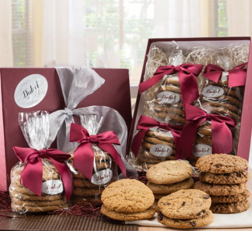 Dulcet Cookies Gift Baskets -Includes 4 Assorted Flavors. Peanut Butter, Chocolate Chip, Oatmeal Raisin, Macadamia. Fresh and Tasty. Top Gift!