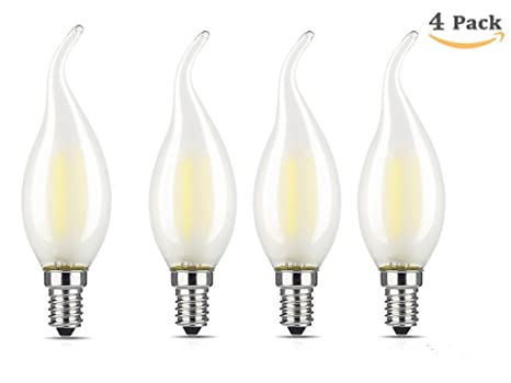 Lyd komb 4-packs regulable en forma de vela bombillas e14 base de candelabro lámpara blanco ...