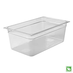 Rubbermaid Commercial Products Cold Food Insert Pan for Restaurants/Kitchens/Cafeterias, Full Size, 8 Inches Deep, Clear (FG133P00CLR)