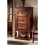 "64"" French Furniture Solid Mahogany Antique Replica Gothic Revival Armoire Shelf"