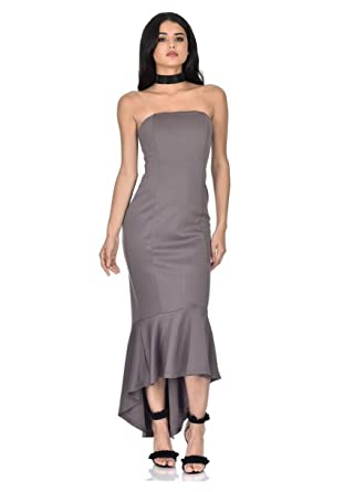 dab5552d6aef9 AX Paris Women s Strapless Fishtail Dress at Amazon Women s Clothing ...