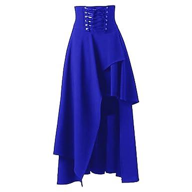 7857c8c36d5 Bonboho Femme Robe Jupe Longue Volants Gothique Lacets Ourlet Asymétrique  Rétro S-XXL Bleu S