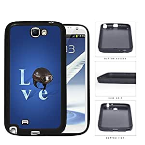 Love Air Force Brown Helmet with Royal Blue Background Samsung Galaxy Note II 2 N7100 Rubber Silicone TPU Cell Phone Case
