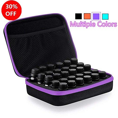 Myonly Essential Oils Carrying Case Holds, 30 Bottles 5ml, 10ml, 15ml Bottles Storage Organizer Bag Hard Shell EVA (Purple)