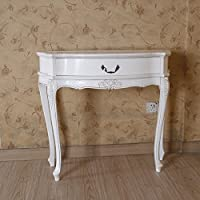 Hand Carved Wood Antique White 1-Drawer Console Table