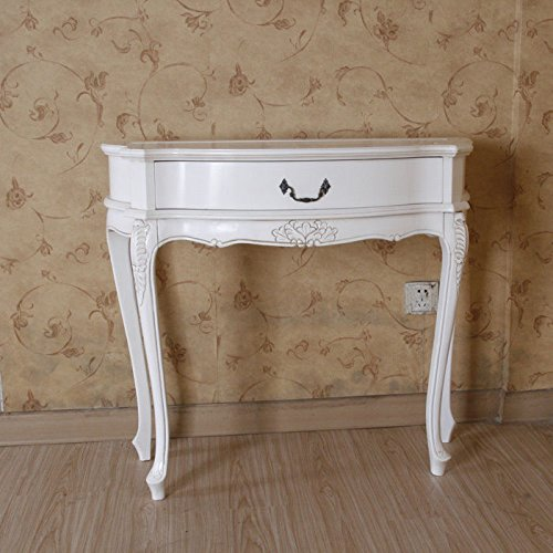 Amazon.com: Hand Carved Wood Antique White 1 Drawer Console Table: Kitchen  U0026 Dining
