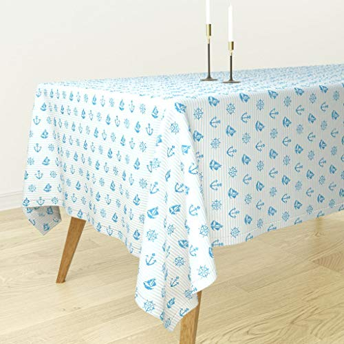 Roostery Nautical Stripe Tablecloth - Ocean Nautical Nursery Faux Cross Stitch Sea Blue Kids Ocean Nautical Nursery by Ornaart - Cotton Sateen Tablecloth 70 x 120