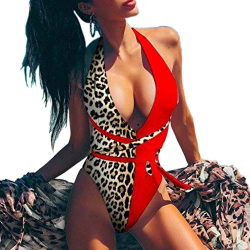 Poliphili Women's Sexy Leopard Snake Print One Piece Bandage Backless High Cut Thong Monokini Swimsuit Plunge V Bathing Suit (L, Red Leopard 2)