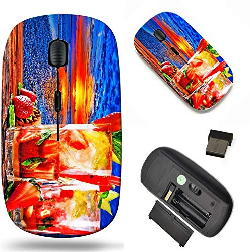 Tropical Alcohol Drinks - Wireless Mouse 2.4G Black Base Travel Wireless Mice with USB Receiver, Noiseless and Silent Click with 1000 DPI for Notebook pc Laptop Computer MacBook Image of Tropical Cocktail Alcohol Drink bevera