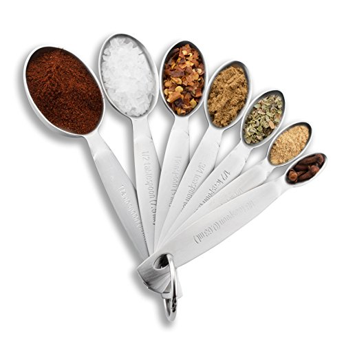 (Spring Chef Measuring Spoons, Heavy Duty Oval Stainless Steel Metal, for Dry or Liquid - Fits in Spice Jar, Set of 7)