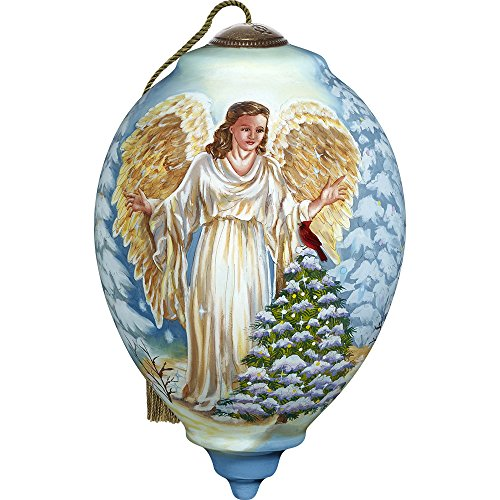 Angel Trio Ornaments - Precious Moments, Ne'Qwa Art 7171118 Hand Painted Blown Glass Standard Princess Shaped Winter Forest Angel Ornament, 5.5-inches
