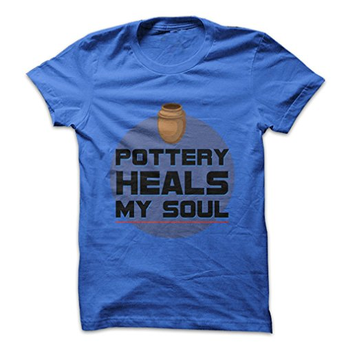Pottery Heals My Soul Premium CVC Men's Small Blue T (The Clay That Heal)