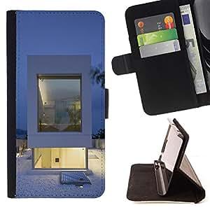 BullDog Case - FOR/Samsung Galaxy Note 4 IV / - / Architecture White Minimalist /- Monedero de cuero de la PU Llevar cubierta de la caja con el ID Credit Card Slots Flip funda de cuer