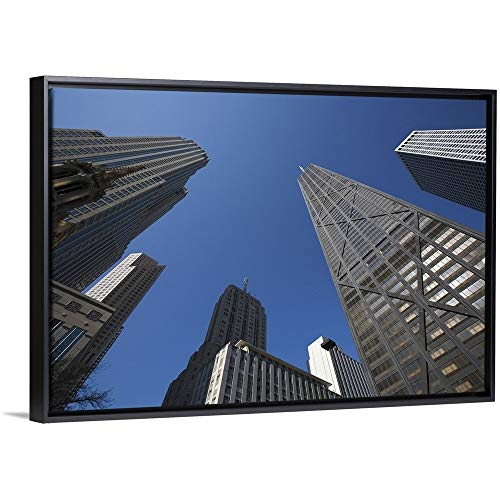 Dennis Flaherty Floating Frame Premium Canvas with Black Frame Wall Art Print Entitled Illinois, Chicago. The Hancock Building Surrounded by Other Skyscrapers 30