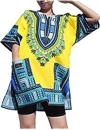 RaanPahMuang Branded Dashiki Short Mini Dress Summer Long Cut Shirt Africa Colours