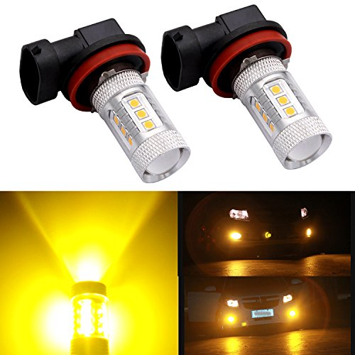 H11 H8 H16 LED Fog Light Bulb Replacement Error Free Projector For 12-24V Vehicles , DunGu 4150272 (Golden Yellow) (Pack of 2)