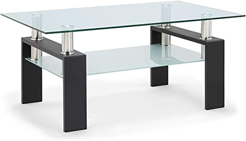 Ammy 39.4 Inch Rectangle Glass Black Coffee Table