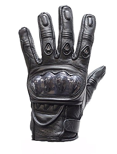 ブラックオートバイレース手袋with Hard Knuckle X-Large ブラック GLZ36-BLK-GLOVES-DL-XL B01N9UAU1K   X-Large