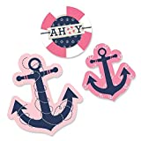 Big Dot of Happiness Ahoy - Nautical Girl - DIY Shaped Baby Shower or Birthday Party Cut-Outs - 24 Count