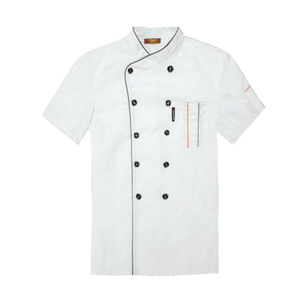 TopTie Short Sleeve Chef Jacket Kitchen Cook Coat Stripe Uniforms-White-XL