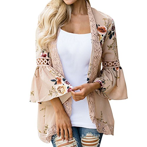 HAALIFE◕‿Womens Floral Loose Bell Sleeve Kimono Cardigan Lace Patchwork Cover Up Blouse Top Khaki ()
