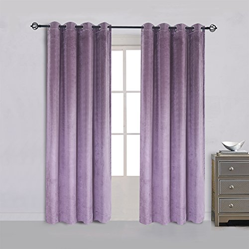 Pink Velvet Drapery Panels (Large Size Lavender Velvet Flannel Blackout Curtain Panel Drape Grommet Drapery Eyelet 84Wx84L inch Purplish Pink(1 panel?with Matching Pillow and)