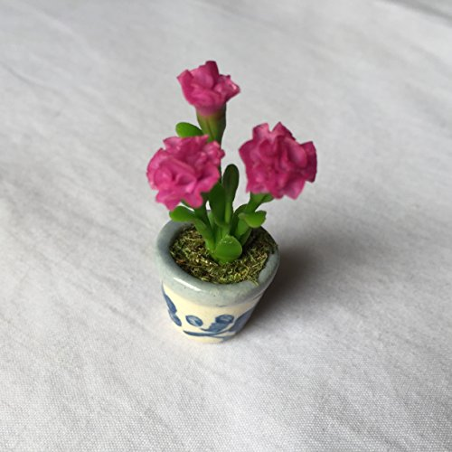 Carnation (Pink) Clay Flower Handmade Miniature Dollhouse Bow Crafts Garden Room Item Tiny tree Set Show (Tree Christmas Belmont Farm)