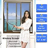Magnetic Window Screen Size Up to 72'x 48' Max - DIY Screen Window with Full Frame Magnetic Strip Easy Installation (White)