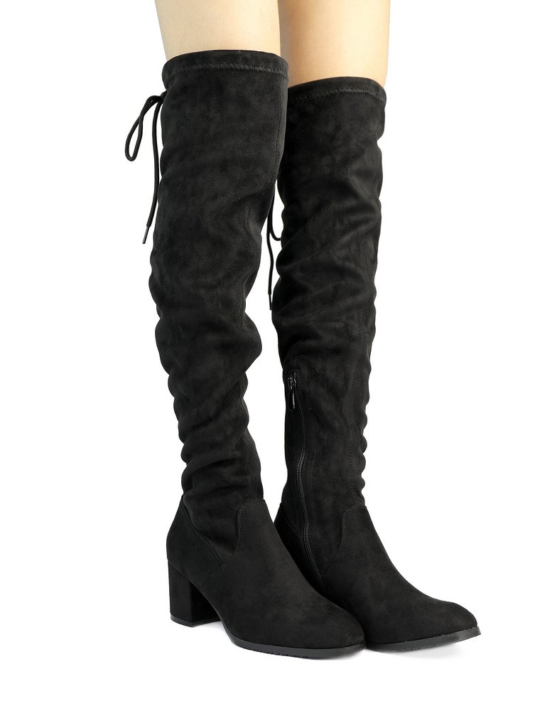 DREAM PAIRS Women's New Portz Black Over The Knee Thigh High Chunky Heel Boots Size 10 B(M) US by DREAM PAIRS