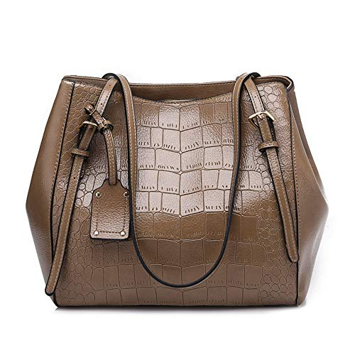 Mn&Sue Alligator Texture Shoulder Tote Bags Big Capacity Purses and Handbags for Women Adjustable Handles (Khaki) (Handbag Hobo Embossed Alligator)