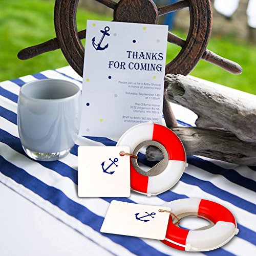 AerWo 20pcs Nautical Baby shower Favors, Life Saver Bottle Opener for beach wedding favors with Anchor Logo Tag Card, Nautical Birthday Party Gifts for (Wedding Favor Supplies)