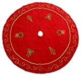 Supree Creations Ltd. 52'' Red Christmas Tree Skirt Embroidered