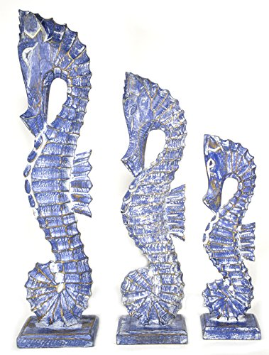 - Nautical Set of 3 Seahorses Wooden Wall Art Decor 20