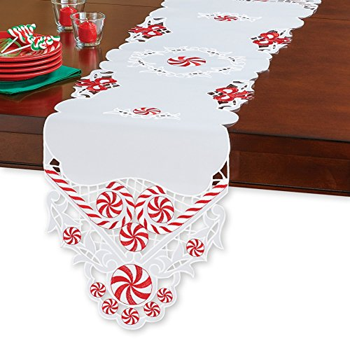 Collections Etc Peppermint Candy Elegant Christmas Table Linens, Runner ()