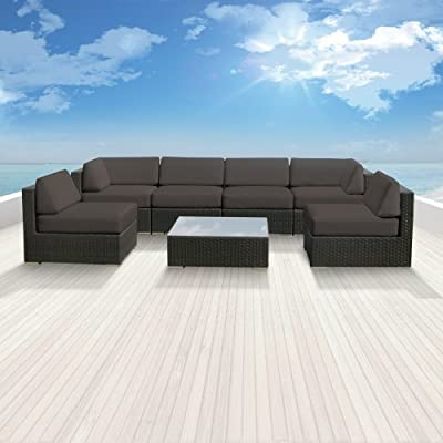Genuine Luxxella Outdoor Patio Wicker Sofa Sectional Furniture BELLA 7pc Gorgeous Couch Set DARK GREY