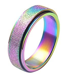ALEXTINA Women's 6MM Fashion Stainless Steel Spinner Ring Sand Blast Finish (Rose Gold and Rainbow)