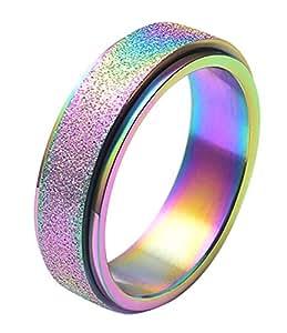 ALEXTINA Women's 6MM Rainbow Stainless Steel Spinner Ring Sand Blast Finish Comfort Fit Size 4