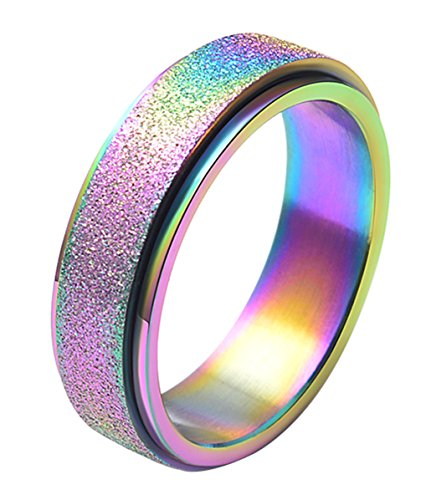 - ALEXTINA Women's 6mm Stainless Steel Ring Spinner Band Sand Blast Finish Rainbow Size 8