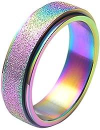 Women's 6MM 8MM Fashion Stainless Steel Spinner Ring Sand Blast Finish