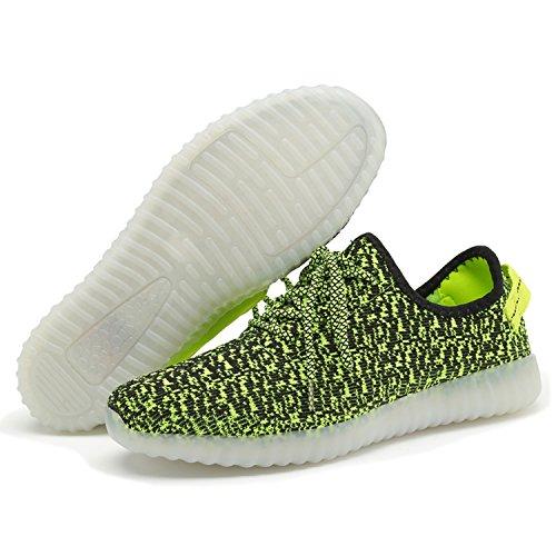 Caro-regina 7 Colori Scarpe Led Unisex Luminoso Lampeggiante Usb Caricabatterie Sneakers Colorato Luce Incandescente Scarpe Piatte Casual Verde