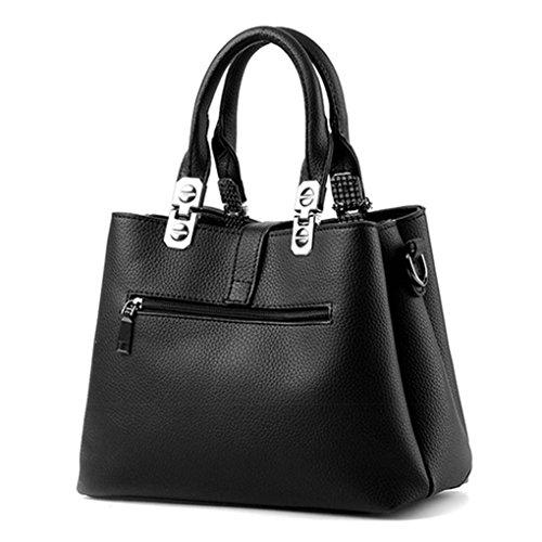 LaoZan Damen Elegant Schultertasche PU-Leder Handtasche Mit Plüsch Dekoration Grau Schwarz