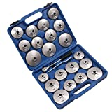 Icegirl 23pcs Aluminum Alloy Cup Type Oil Filter Cap Wrench Socket Removal Tool Set 1/2''dr. with a Storage Case (Blue)
