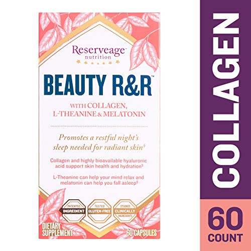 Reserveage - Beauty R&R, Helps Relax the Mind for Restful Sleep and Supports Radiant, Firm and Youthful Skin with Collagen, Melatonin and L-Theanine, Gluten Free, 60 Capsules