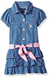 U.S. Polo Assn. Big Girls' Casual Dress, Tiered Ruffle Contrast Belt Blue Wash, 8